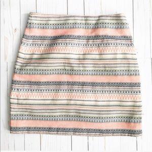 Loft Aztec Tribal Print Pink Mini Skirt Size 4